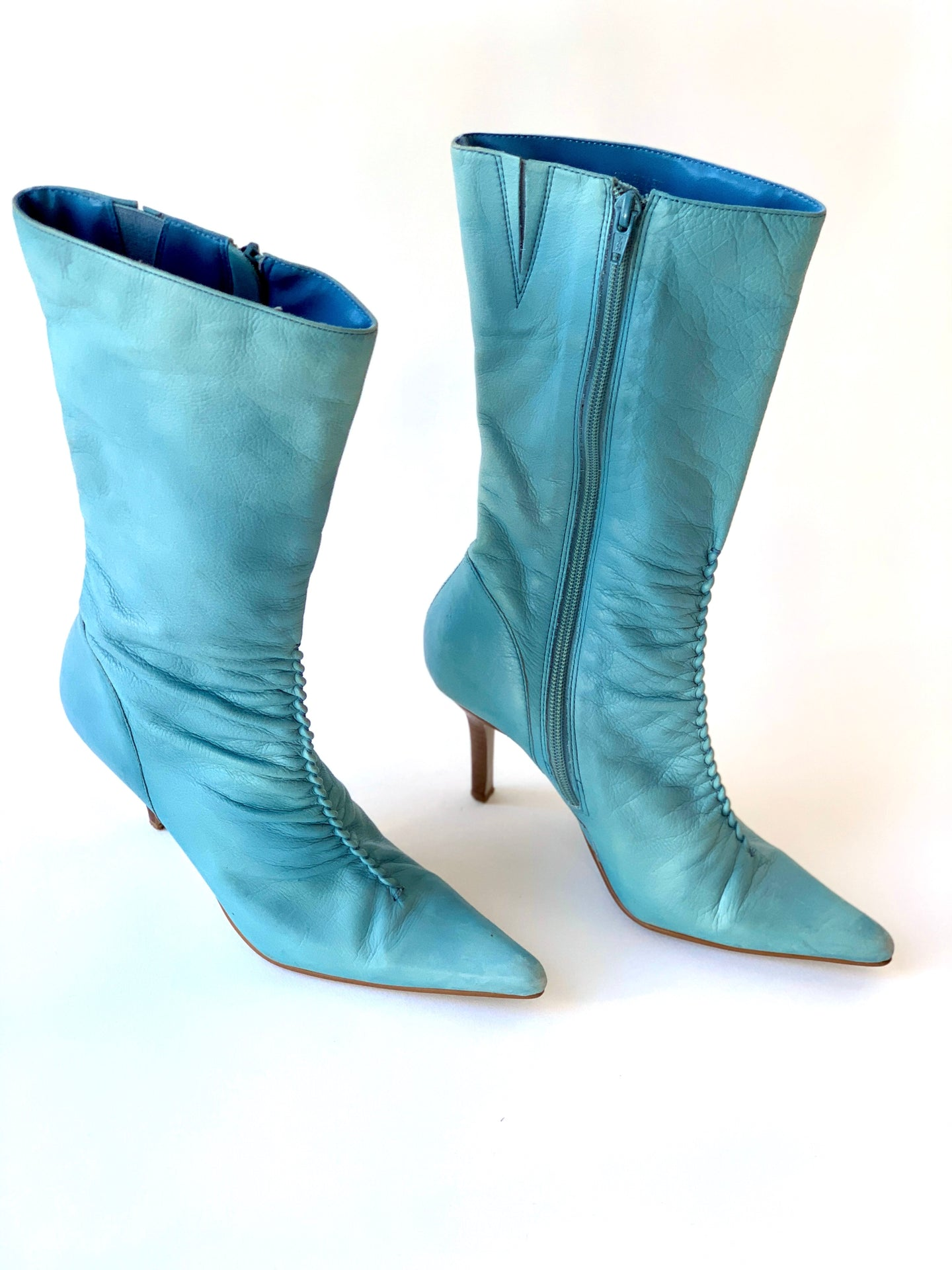 Blue Mid Calf Ruched Pointy Boots