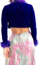 Load image into Gallery viewer, 60's Sexy Velvet Marabou Shrug