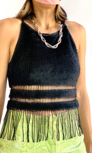 90s Faux Fur and Fringe Stretch Halter