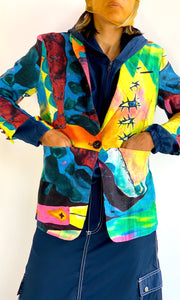 Surrealist Watercolor Linen Blazer