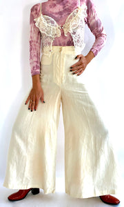 Claude Montana Wide Leg Linen Trousers