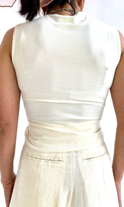 00s Cream Ruched Tank Top