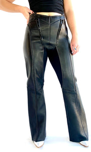 Segmented Double Zip Leather Pants