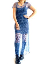 Load image into Gallery viewer, 90s Mesh Blue Rose Dress