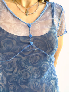 90s Mesh Blue Rose Dress