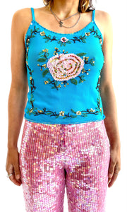 Mesh Sequin Rose Tank