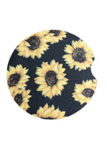 Black sunflower car coaster