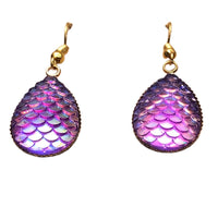 Purple Yg Mermaid Tear Drop Dangle Earrings