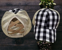 Black plaid crisscross hat