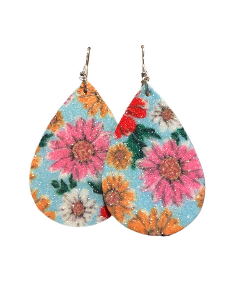 Blue Glitter Floral Earrings