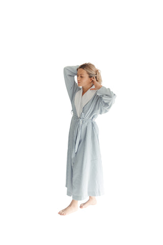Navy Double Layer Seersucker Robe