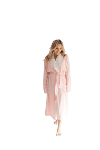 Pink Seersucker Double Layer Robe