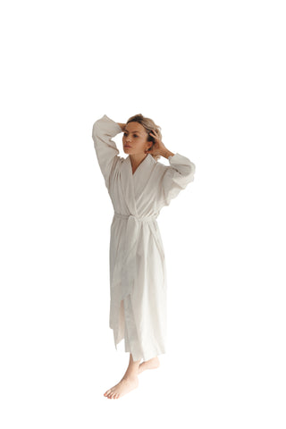 Stone Seersucker Double Layer Robe