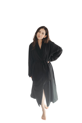 Black Twill Double Layer Robe