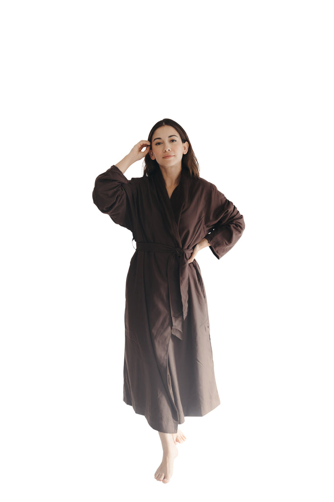 Chocolate Twill Double Layer Robe