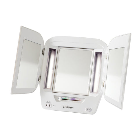 5X-1X Trifold Mirror With LED Lighting