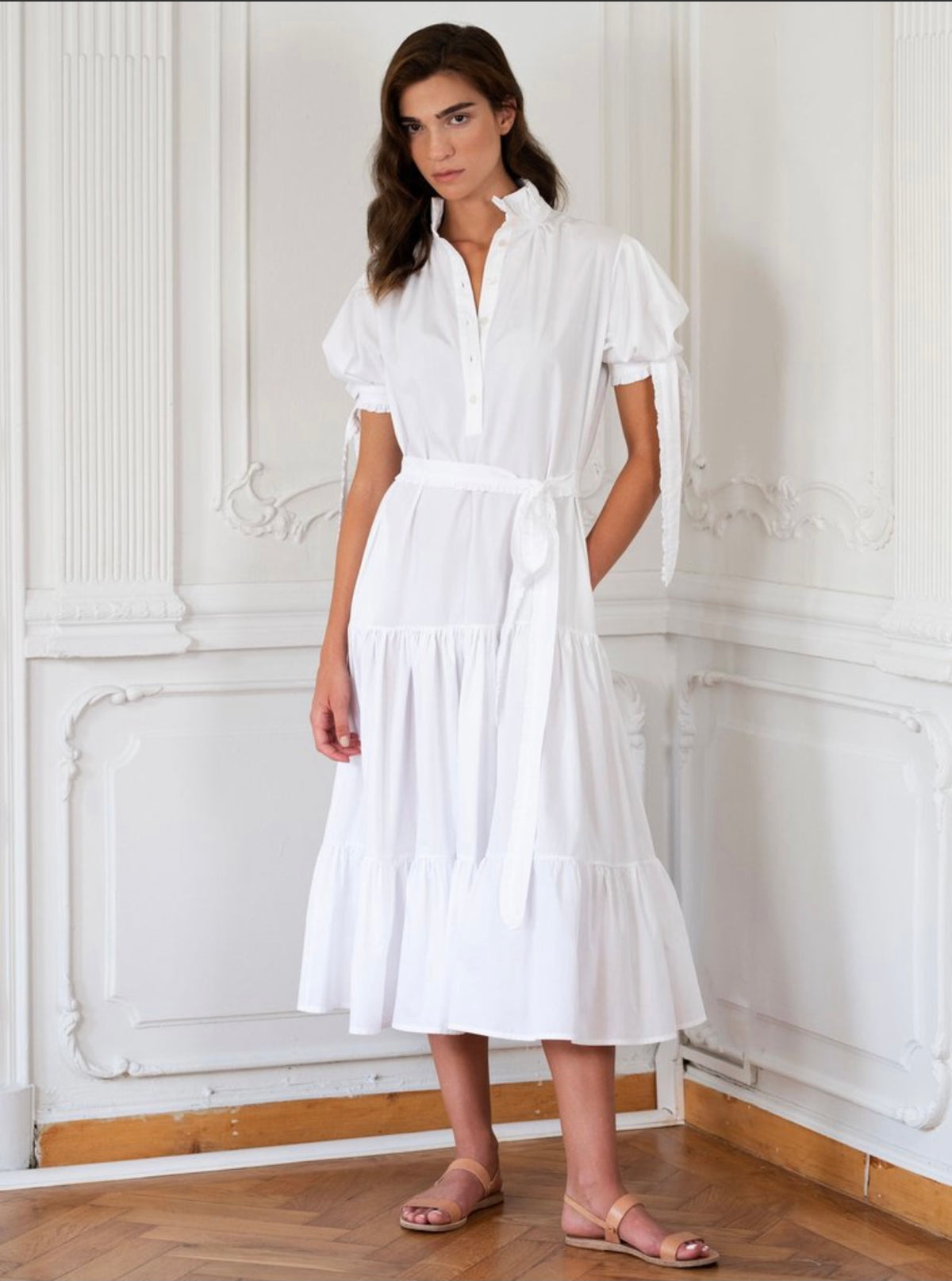 Evi Grintela Puff Sleeve Shirtdress in White Poplin