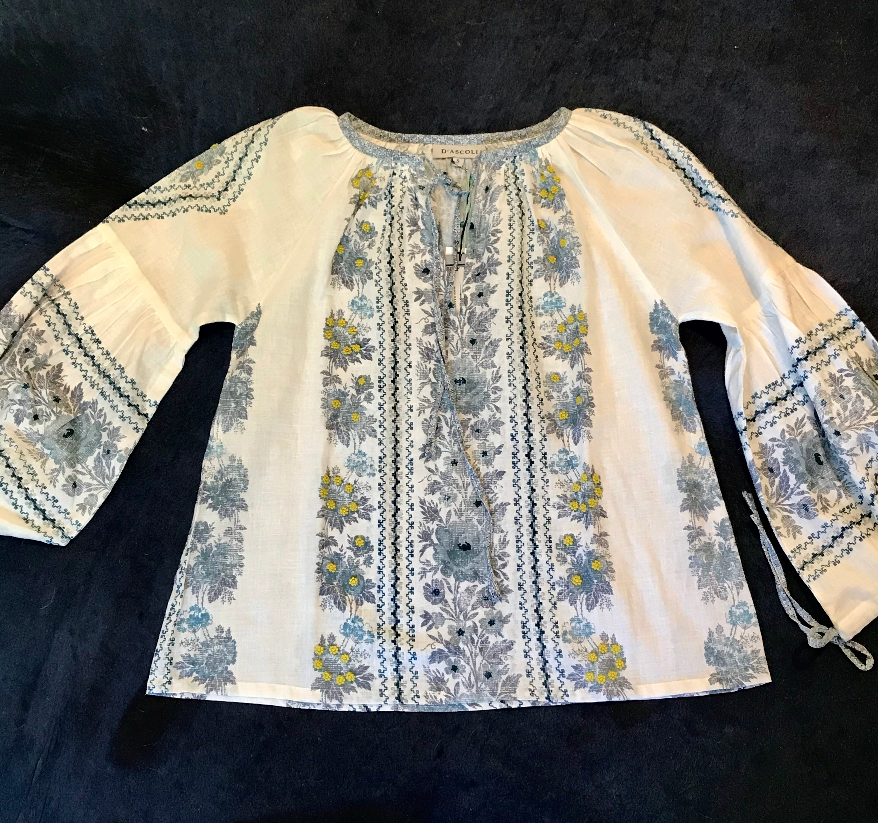 D'Ascoli Flamenco Top with Embroidery-Blue & Yellow