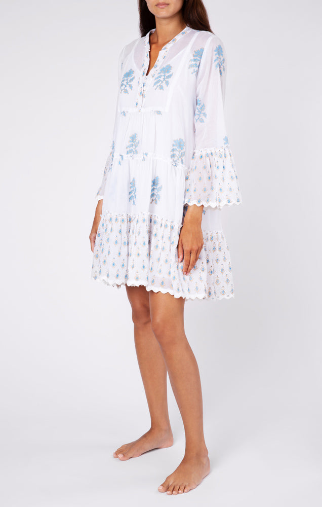Juliet Dunn Flared Sleeve Dress with Rose Block Print