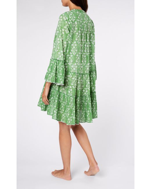 Juliet Dunn Flared Sleeve Dress in Palladio Block Print