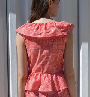 Coco Shop Ruffle Dress in Red St. John's Toile