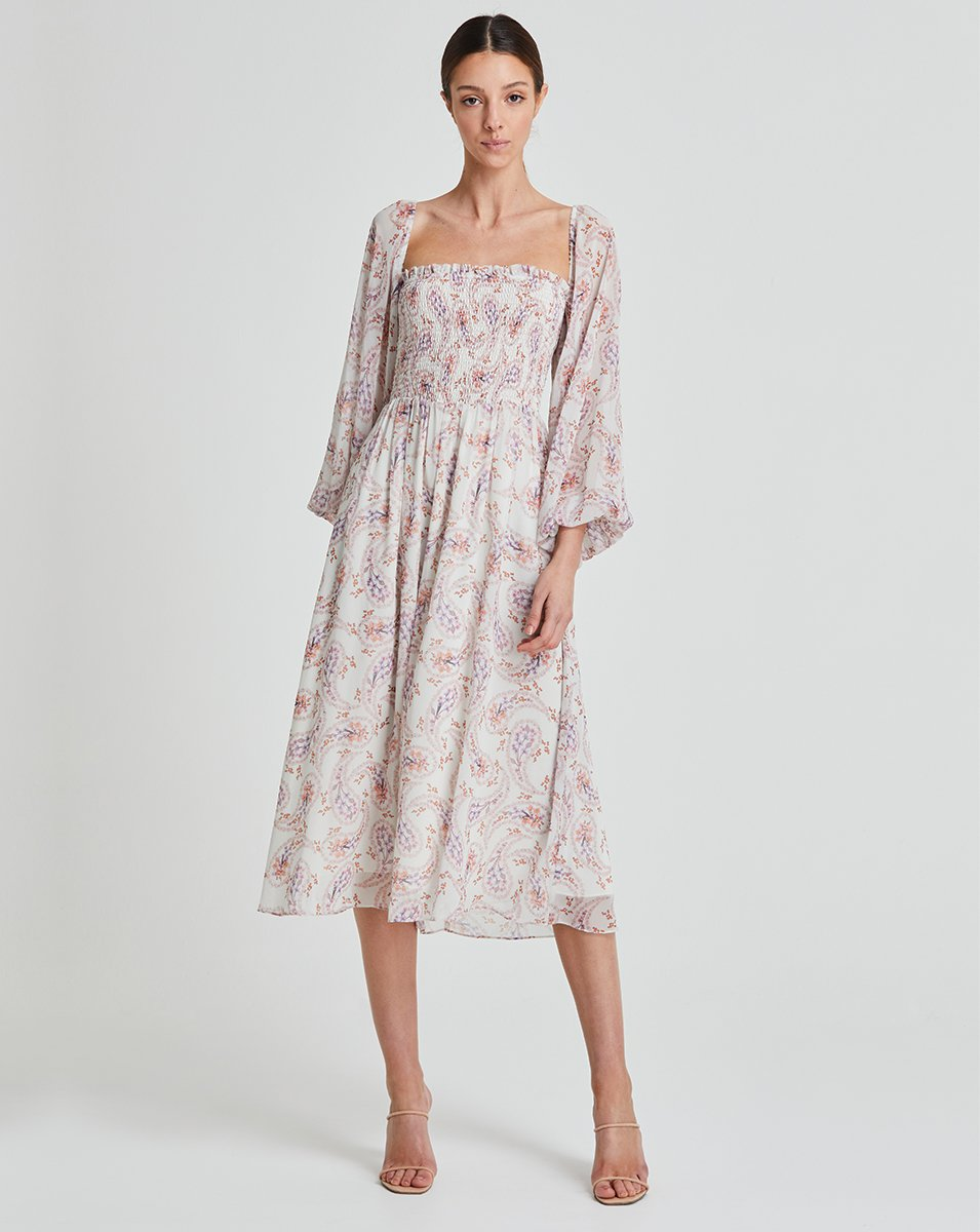 We Are Kindred Lily Rose Shirring Midi Dress in Daisy Paisley