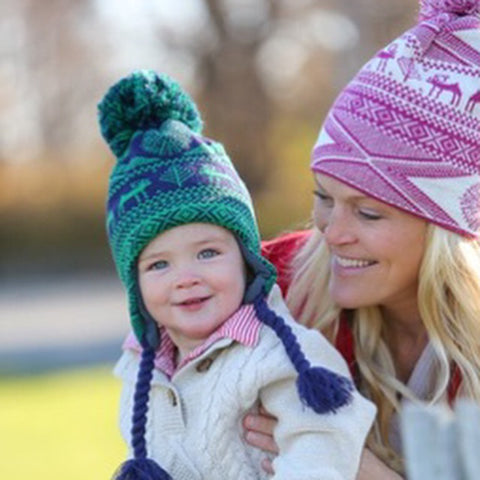 CK Bradley Mommy and Me Fair Isle Pom Pom Hats