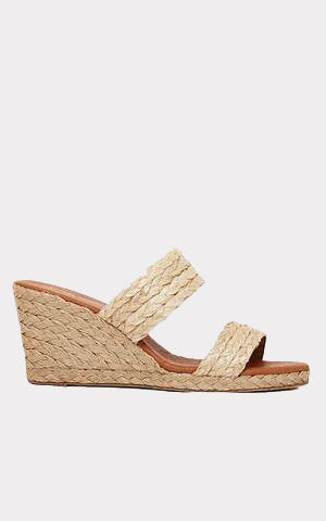 Andre Assous Nolita Natural Rafia Double Banded Espadrille Wedge