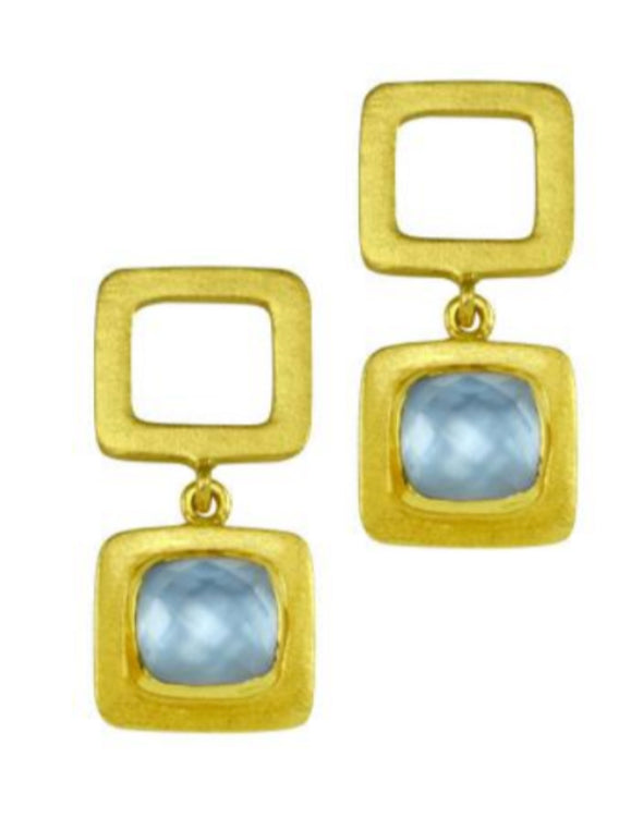 Betty Carre Small Square Stone Earrings