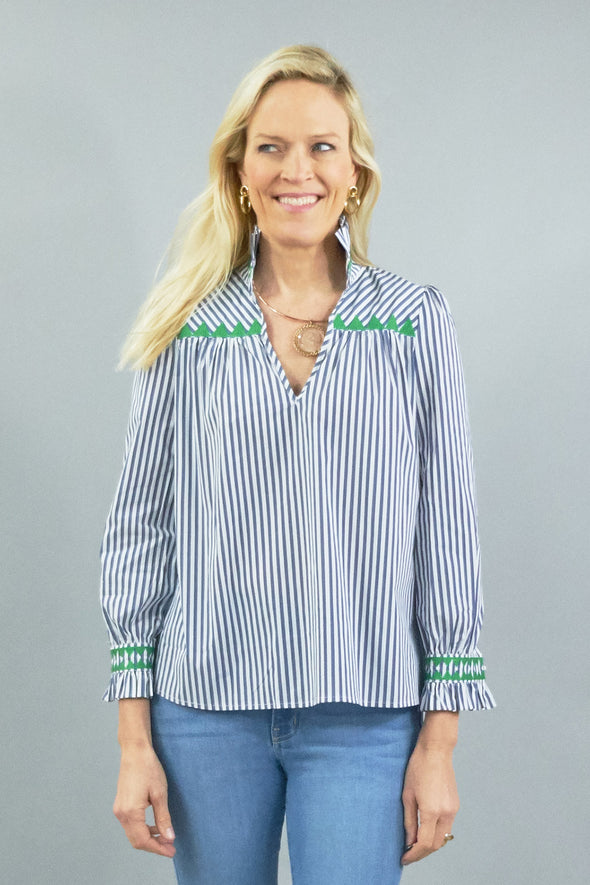 Aspen Blouse - Navy Stripe