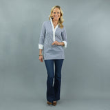 Ivy Tunic - Navy Stripe/White Placket