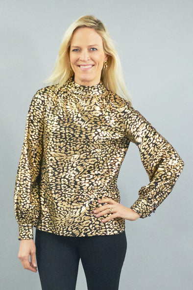 Emery Blouse - Black and Gold