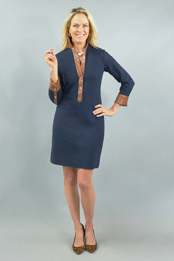 Ivy Dress - Navy w/ Tan