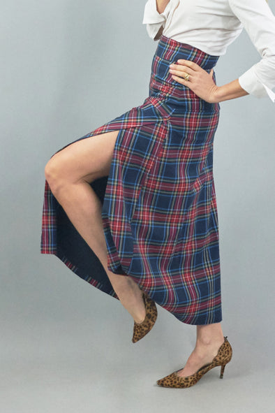 Sanibel Skirt - Navy Plaid