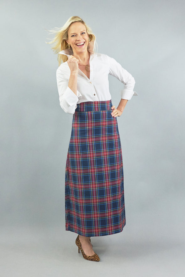 Sanibel Skirt Navy Plaid