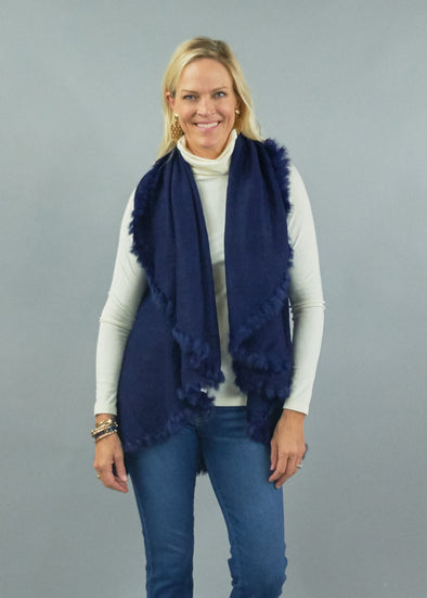Heidi Kagan 4 Way Shawl Vest with Fur Trim