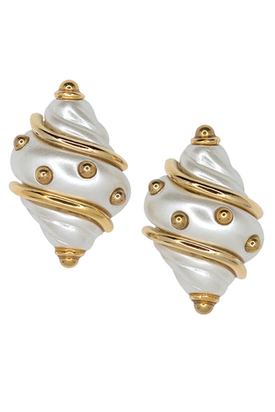 KJL Shell with Gold Dots Clip On Earrings (Various Colors)