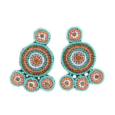 Beaded Circle Earrings - Turquoise and Orange