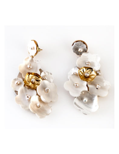 Frangos - Pearl Flower Cluster Drop Earrings (CLIP ON)