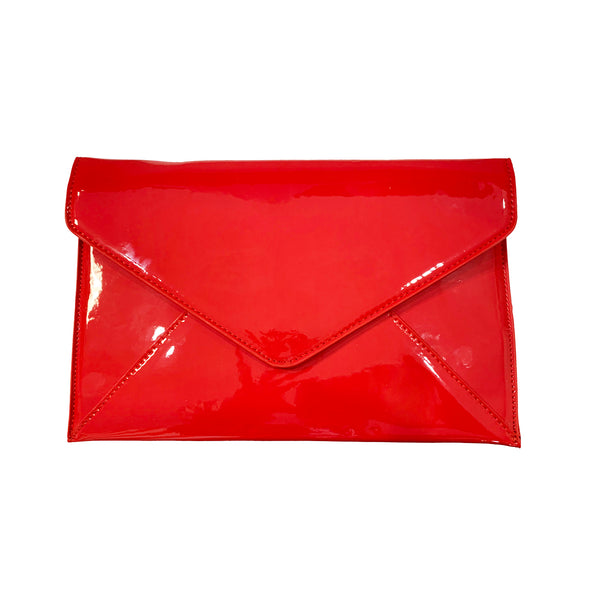 Golden Stella Patent Leather Envelope Clutch