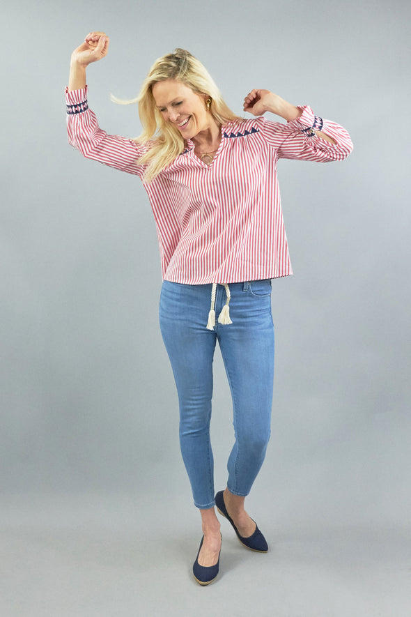 Aspen Blouse - Red Stripe