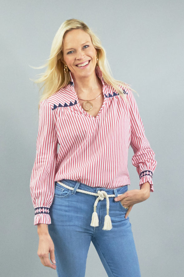 Aspen Blouse - Stripe Red