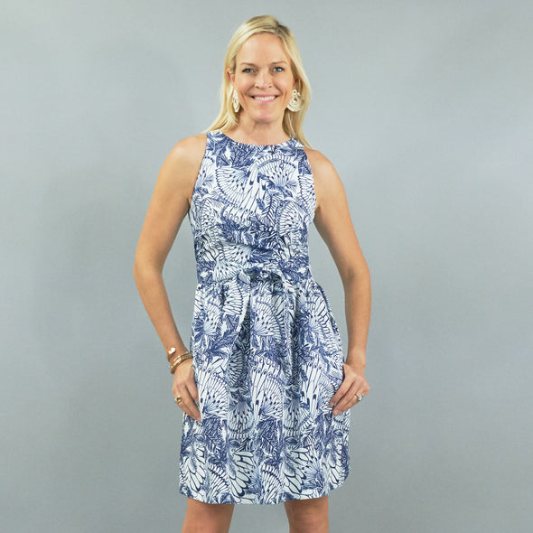 Darden Dress - Feathers Navy