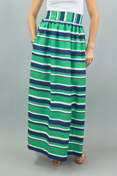 Diddle Ball Skirt - Navy/Green Stripe