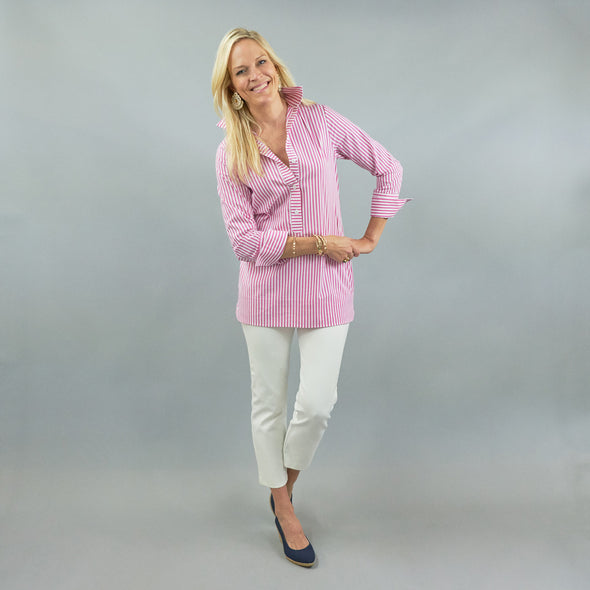 Ivy Tunic - Dark Pink Stripe