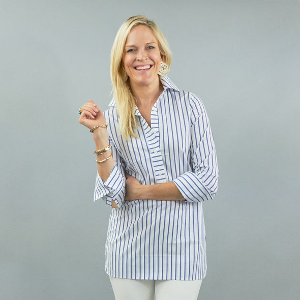 Ivy Tunic - Blue Wide Stripe