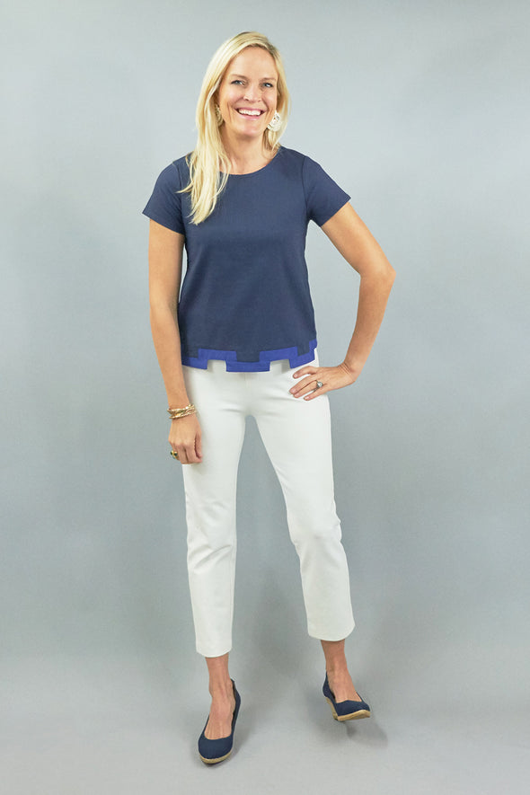 Tallulah Top - Navy Linen