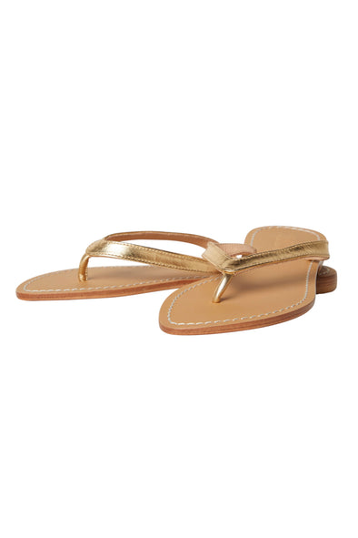 Paige Gold Leather Thong Sandals