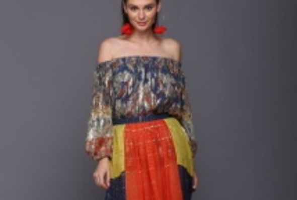 PAISLEY JAQUARD OFF THE SHOULDER BLOUSE