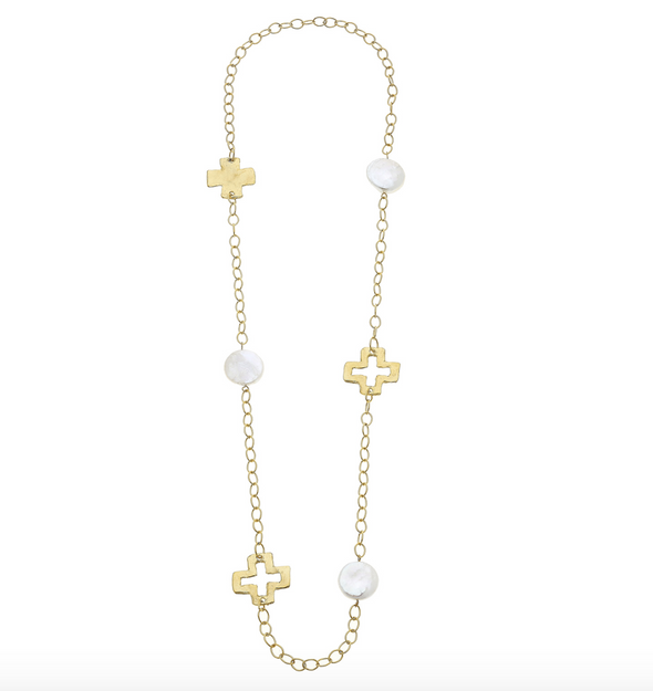 Susan Shaw Gold Cross and Large Coin Pearl Chain Necklace